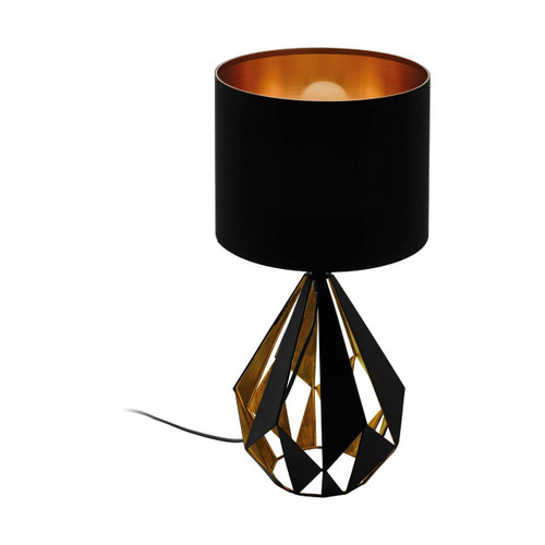 Eglo Lighting Carlton 5 Black and Copper with Fabric Shade Table Lamp