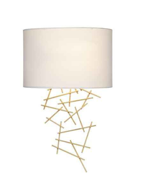 Cevero Gold with Faux Silk Ivory Shade Wall Light