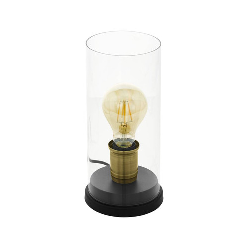 Eglo Lighting Smyrton Black Bronzed Steel with Clear Glass Table Lamp