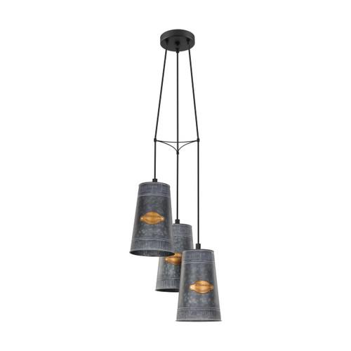 Eglo Lighting Honeybourne 3 Light Zinc Plated Steel with Black Cluster Pendant Light