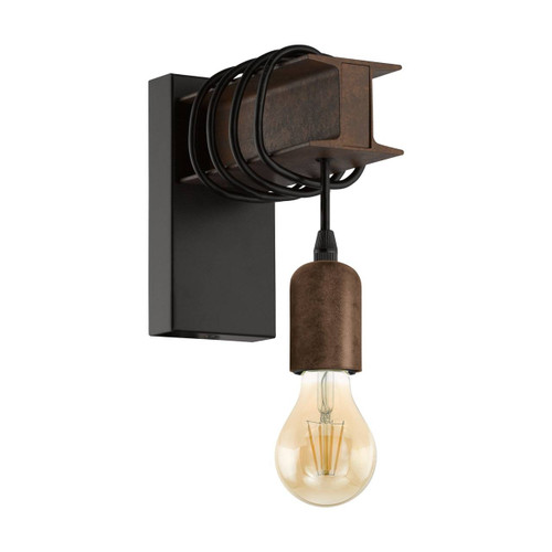 Eglo Lighting Townshend 4 Black and Rust Steel Industrial Wall Light