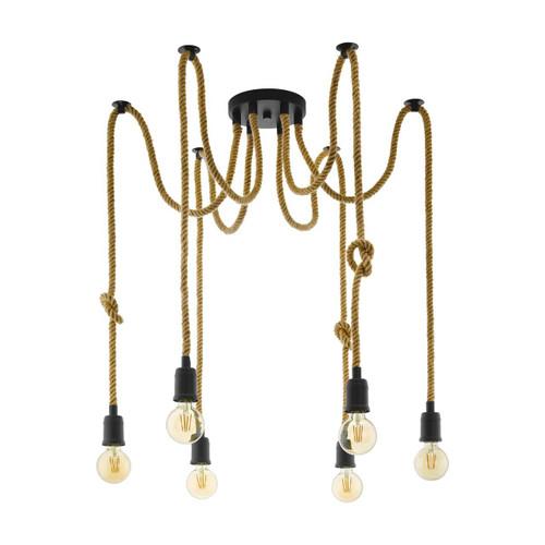 Eglo Lighting Rampside 6 Light Black Steel Cluster Pendant Light