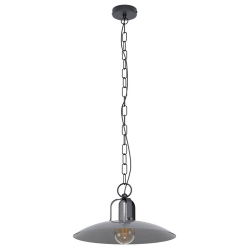 Eglo Lighting Kenilworth Black with Antique Nickel Shade Pendant Light