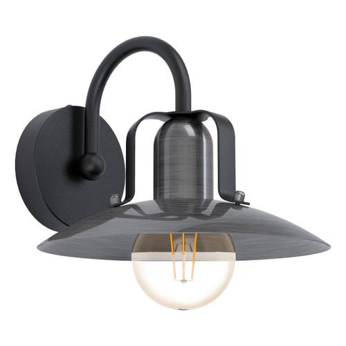 Eglo Lighting Kenilworth Black with Antique Nickel Shade Wall Light