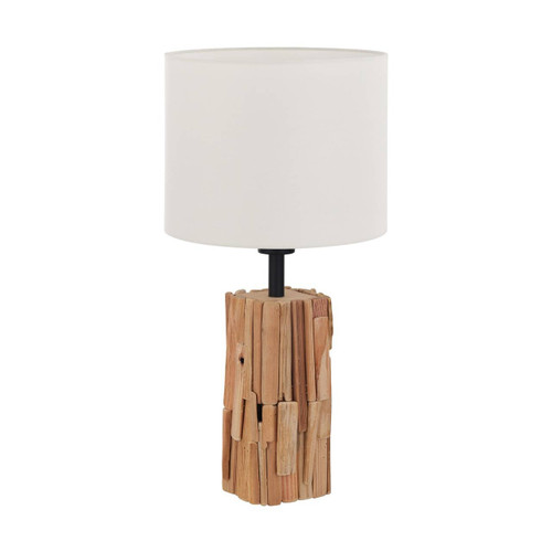Eglo Lighting Portishead Wood with White Linen Shade Table Lamp
