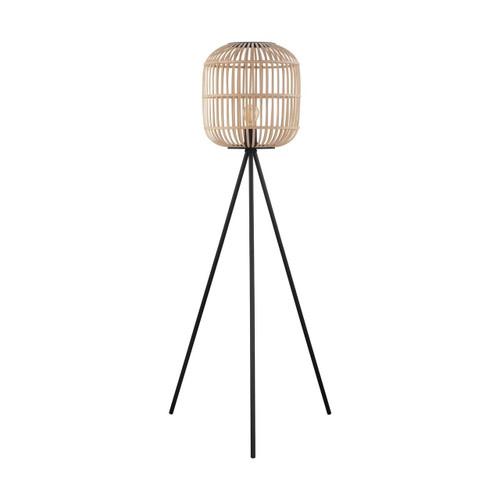 Eglo Lighting Bordesley Black Steel with Wood Shade Floor Lamp