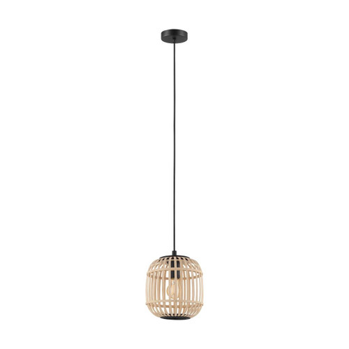 Eglo Lighting Bordesly Black Steel with Natural Wood Shade Pendant Light