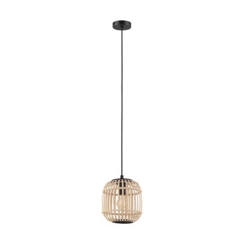 Eglo Lighting Bordesly Black Steel with Natural Wood Shade Pendant Light