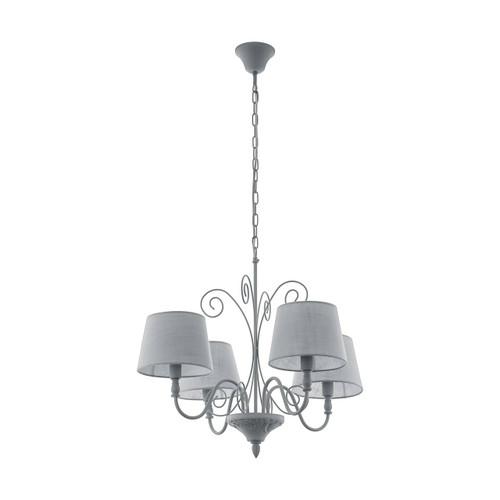 Eglo Lighting Caposile 1 4 Light Grey with Grey Linen Shade Pendant Light