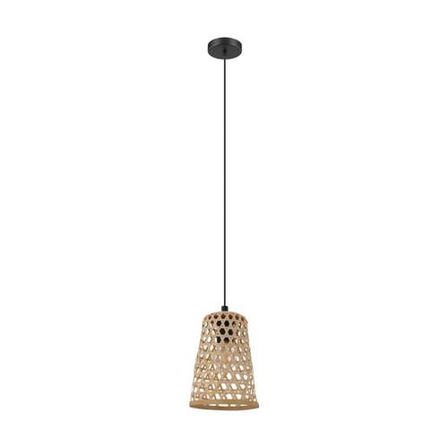 Eglo Lighting Claverdon Black Steel with Wood Shade Small Pendant Light