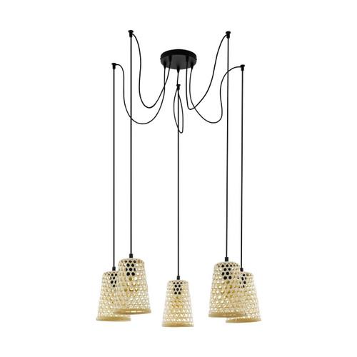 Eglo Lighting Claverdon 5 Light Black Steel with Wood Shade Cluster Pendant Light