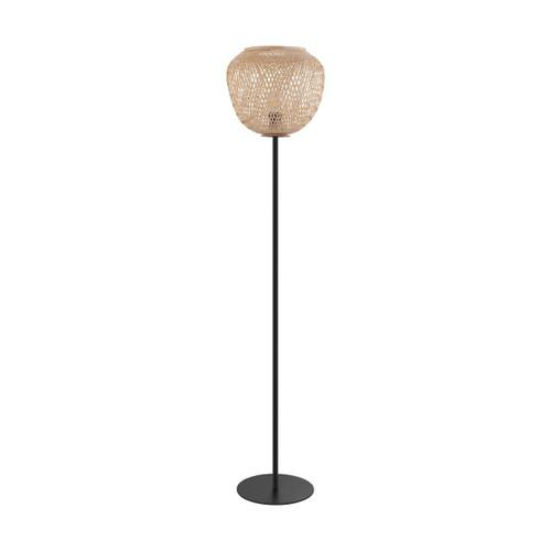 Eglo Lighting Dembleby Black Steel with Wood Shade Floor Lamp