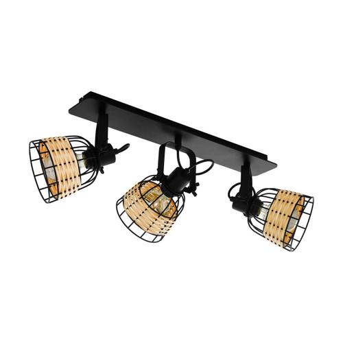 Eglo Lighting Anwick 1 3 Light Black Steel Natural Rattan Shade Spot Light