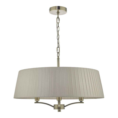Cristin 4 Light Antique Brass with Taupe Ribbon Shade Pendant Light