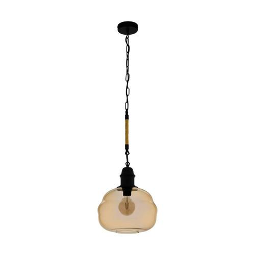 Eglo Lighting Marysville Black Steel with Amber Vaporized Glass Pendant Light