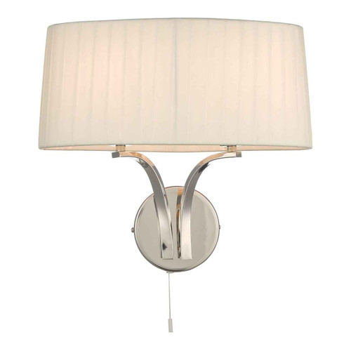 Cristin 2 Light Polished Nickel with Ivory Shade Wall Light