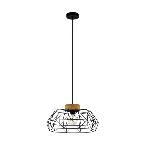 Eglo Lighting Padstow Black Steel with Wood Detail Pendant Light