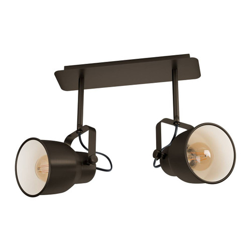 Eglo Lighting Mitchley 2 Light Dark Bronze and Cream Steel Bar Spot Light