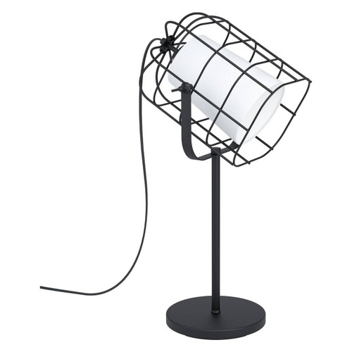Eglo Lighting Bittams Black Steel with White Fabric Shade Table Lamp