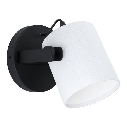Eglo Lighting Hornwood 1 Black with White Fabric Shade Wall Light