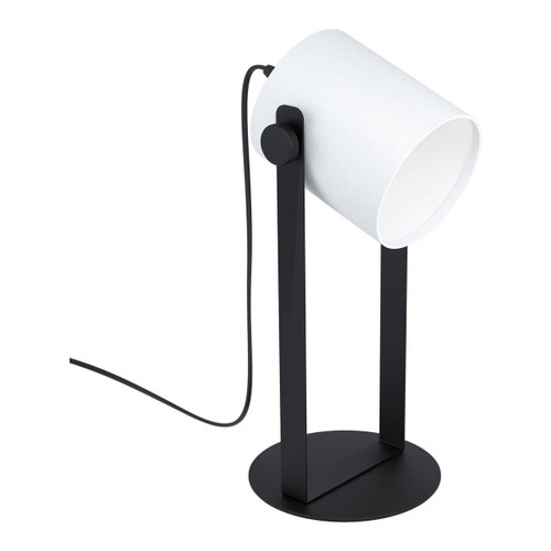 Eglo Lighting Hornwood 1 Black with White Fabric Shade Table Lamp