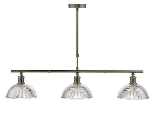 Dara 3 Light Antique Brass & Glass Bar Pendant Light