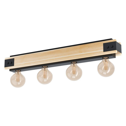 Eglo Lighting Layham 4 Light Black with Burnt Wood Ceiling Light