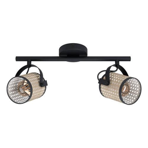 Eglo Lighting Ruscomb 2 Light Black with Natural Finish Shade Spot Light
