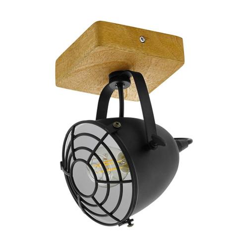 Eglo Lighting Gatebeck Black Steel with Wood Spot Light