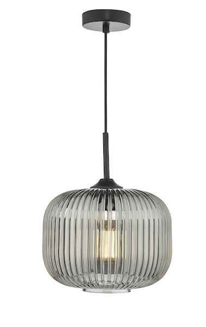 Demarius Black and Smoked Glass Pendant Light