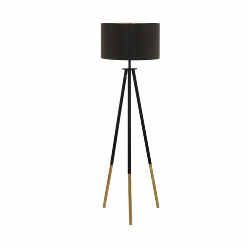 Eglo Lighting Bidford Cappuccino and Gold Fabric Shade Floor Lamp