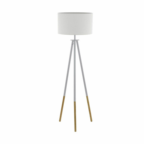 Eglo Lighting Bidford White with White Fabric Shade Floor Lamp