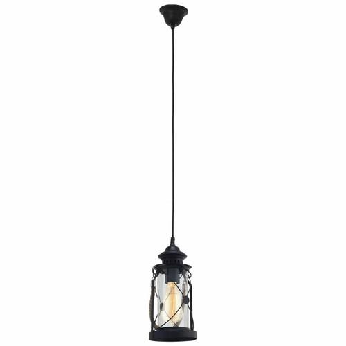 Eglo Lighting Bradford Black Steel with Clear Glass Pendant Light