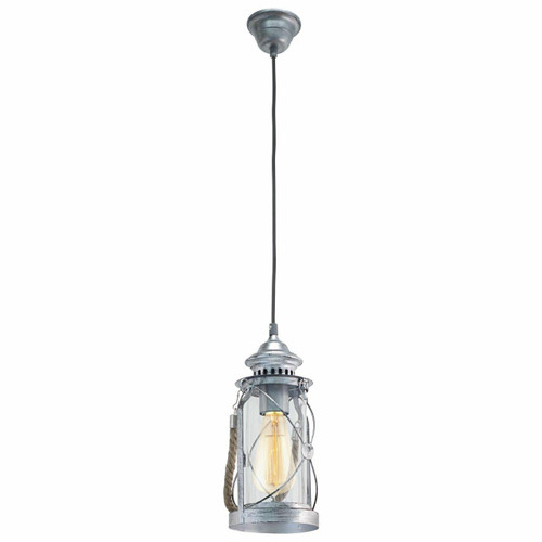 Eglo Lighting Bradford Antique Silver with Clear Glass Shade Pendant Light