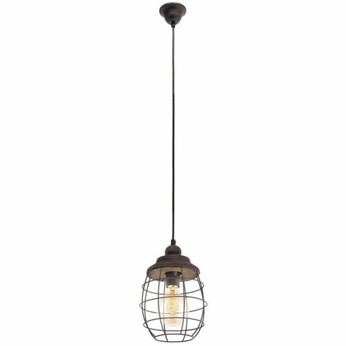 Eglo Lighting Bampton Brown Patina Steel and Wood Pendant Light