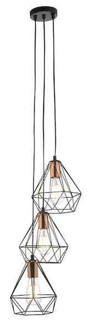 Deyon 3lt Black and Copper Cluster Pendant Light
