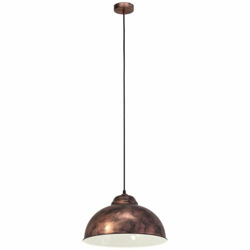 Eglo Lighting Truro 2 Antique Copper and Cream Coloured Steel Pendant Light