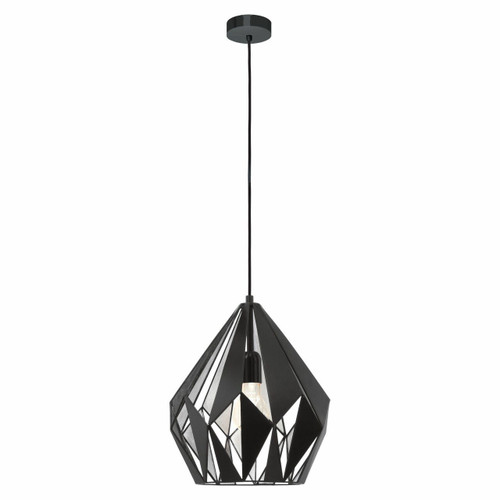 Eglo Lighting Carlton 1 Black with Silver Coloured Steel Pendant Light