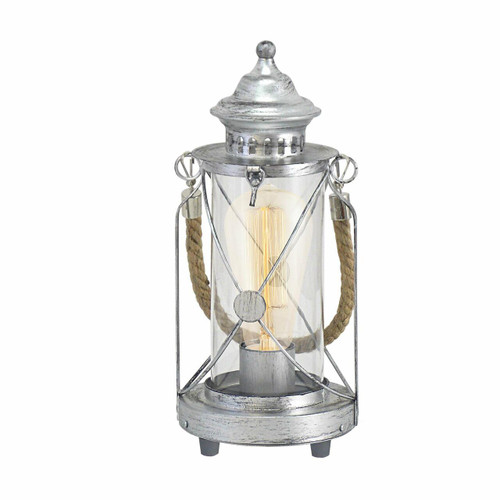 Eglo Lighting Bradford Antique Silver with Clear Glass and Rope Detail Table Lamp