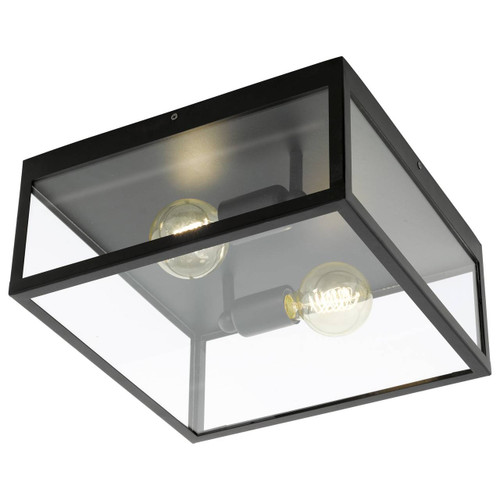 Eglo Lighting Charterhouse Black Steel with Clear Glass Shade Ceiling Light