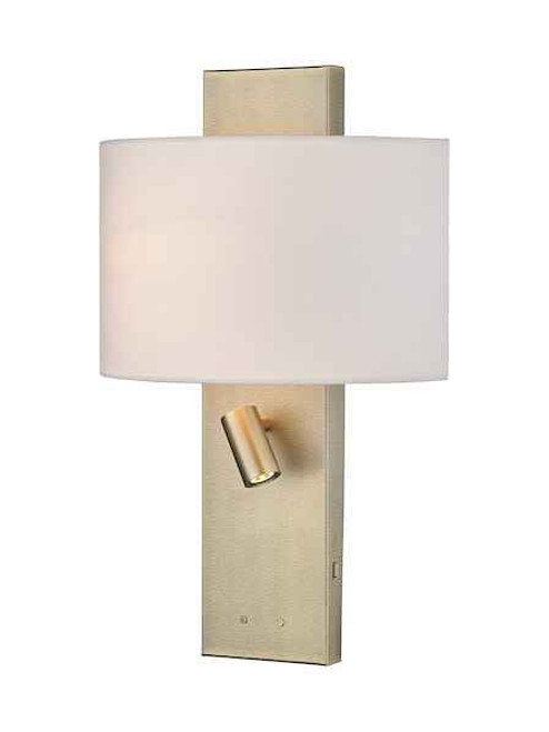 Dijon Aged Brass Adjustable with shade USB Charging Reading Wall Light