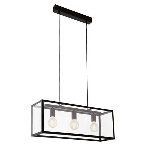 Eglo Lighting Charterhouse 3 Light Black Steel with Clear Glass Shade Bar Pendant Light