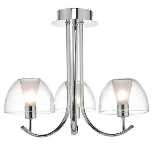 Duana 3 Light Polished Chrome and White Glass Semi Flush Ceiling Light