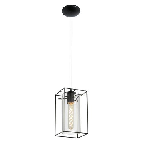 Eglo Lighting Loncino Black with Clear Smoked Glass Shade Pendant Light