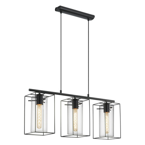 Eglo Lighting Loncino 3 Light Black with Clear Smoked Glass Shade Bar Pendant Light