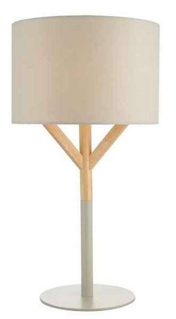 Eatu Wood with Grey Metal and Cotton Drum Shade Table Lamp