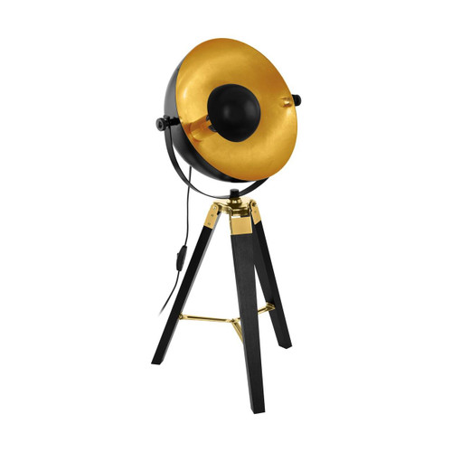 Eglo Lighting Covaleda Black and Brass Coloured Tripod Table Lamp