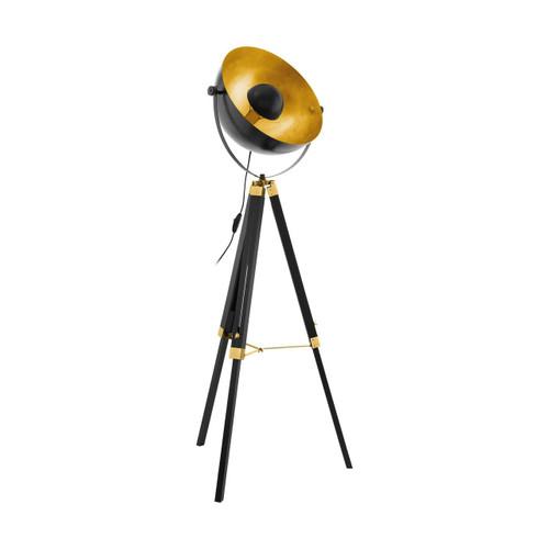 Eglo Lighting Covaleda Black and Brass Coloured Tripod Floor Lamp