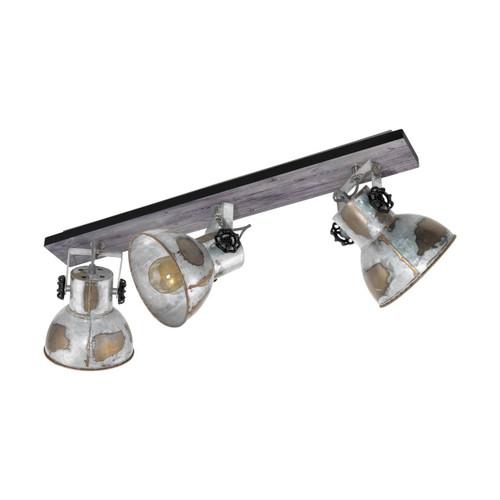 Eglo Lighting Barnstaple 3 Light Black with Used Look Zinc Steel Shade Bar Spot Light