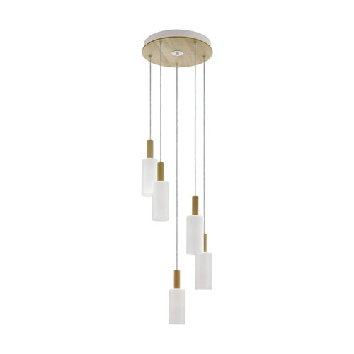 Eglo Lighting Oakham 5 Light White with Natural Wood and Satin Glass Shade Pendant Light